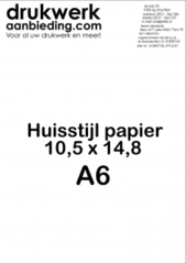 Huisstijl Papier Formaat A6 (10,5 x 14,8 cm)