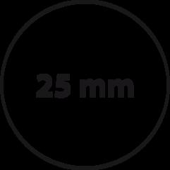 25 mm rond (max. 4 regels)