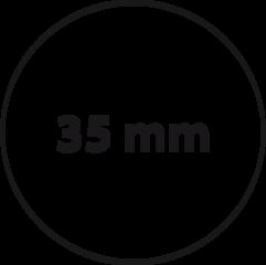 35 mm rond (max. 5 regels)