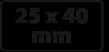 25 x 40 mm (max. 4 regels)