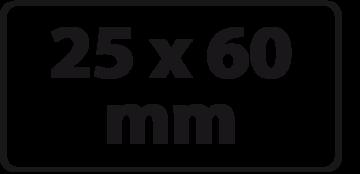 25 x 60 mm (max. 4 regels)