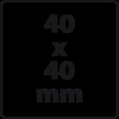 40 x 40 mm (max. 6 regels)