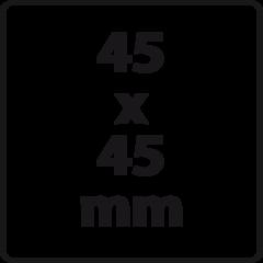 45 x 45 mm (max. 6 regels)