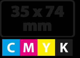 35 x 74 mm (afgeronde hoekjes)
