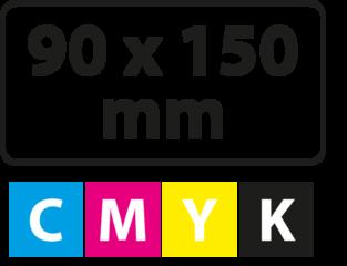 90 x 150 mm (afgeronde hoekjes)