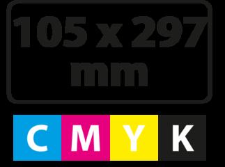 105 x 297 mm (afgeronde hoekjes)