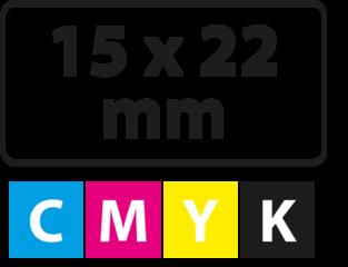 15 x 22 mm (afgeronde hoekjes)