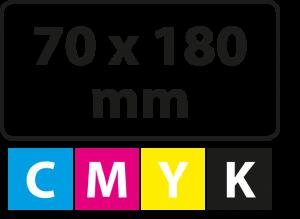 70 x 180 mm (afgeronde hoekjes)