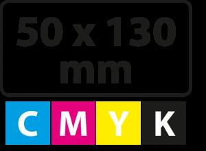 50 x 130 mm (afgeronde hoekjes)