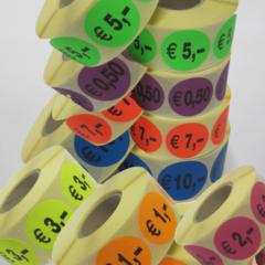 Prijs stickers of prijs etiketten op rol