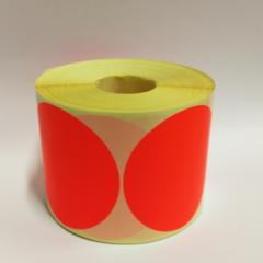 Stickers op rol  100 mm rond Fluor Rood (kleine aantallen)