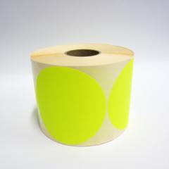 Stickers op rol  100 mm rond Fluor Geel (kleine aantallen)