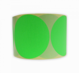 Stickers op rol  100 mm rond Fluor Groen (kleine aantallen)