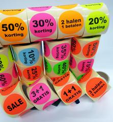 Kortings stickers of kortings etiketten op rol